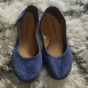 Lucky brand flats suede blue color sz 8